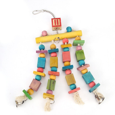 Colorful Parrot Toys Macaw Hanging With Bells Bites Chew On Cages Swing Stand Rack