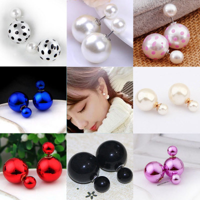 Korean Version Of The Double-sided Cute Imitation Pearl Size Ball Earrings Fashion Candy Color Stitching