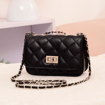 Shoulder Bag Diamond Pattern Lock Button Chain Bag Female Cross Mini Bag