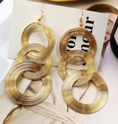 Exaggerated Retro Geometric Multi-layered Earrings Metal Circle Earrings Women's Network Red Personalized Night Club Earrings