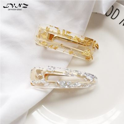 LVN Jewelry Japan And Korea Exquisite Acrylic Resin Gold Foil Geometric Hairdresser Duck Bill Side Hairdresser 6273II