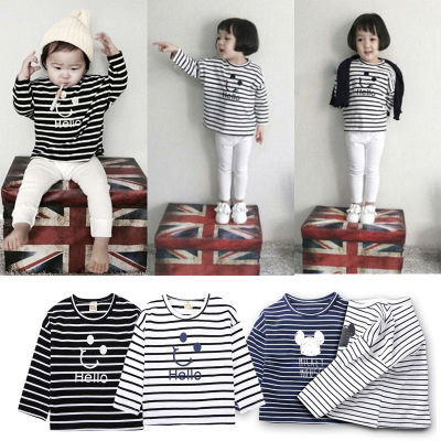 Children All Cotton Stripe Long Sleeve Casual Bottoming Tops
